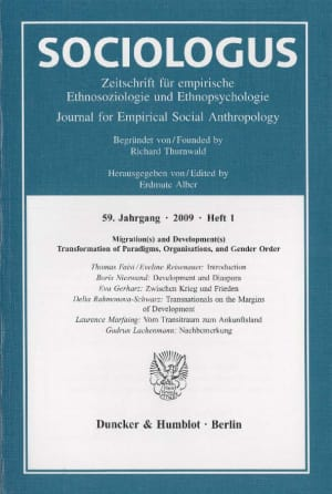 Cover Migration(s) and Development(s) – Transformation of Paradigms, Organisations, and Gender Order (SOC 1/2009)