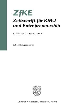 Cover Cultural Entrepreneurship (ZfKE 1/2016 )