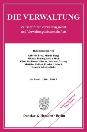 Cover Verwaltungsrecht und Finanzmärkte (VERW 3/2016)