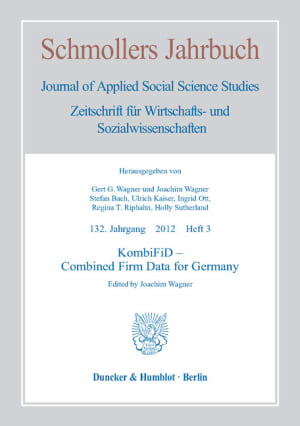 Cover KombiFiD – Combined Firm Data for Germany (JCE 3/2012 )