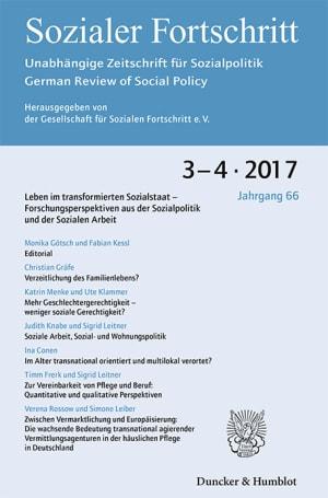 Cover Leben im transformierten Sozialstaat – Forschungsperspektiven aus der Sozialpolitik und der Sozialen Arbeit (SF 3–4/2017 )