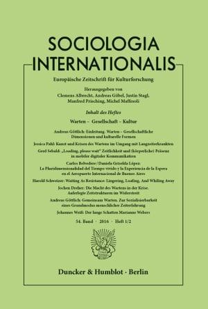 Cover Warten – Gesellschaft – Kultur (SOCINT 1–2/2016)