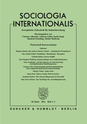 Cover Themenheft Kunstsoziologie (SOCINT 1–2/2012)