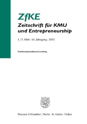 Cover Familienunternehmensforschung (ZfKE 1–2/2013 )