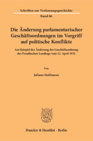 Cover Schriften zur Verfassungsgeschichte (VG)