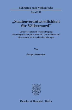 Cover »Staatenverantwortlichkeit für Völkermord«