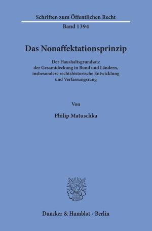 Cover Das Nonaffektationsprinzip