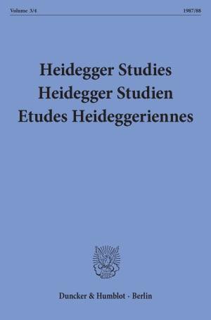 Cover Heidegger Studies / HeideggerStudien / Etudes Heideggeriennes