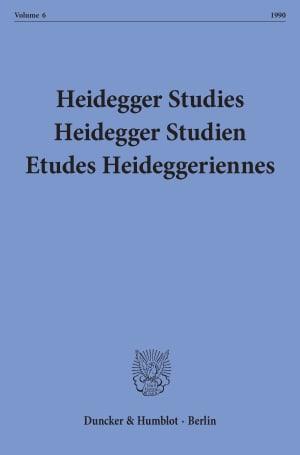 Cover Heidegger Studies/ Heidegger Studien / Etudes Heideggeriennes