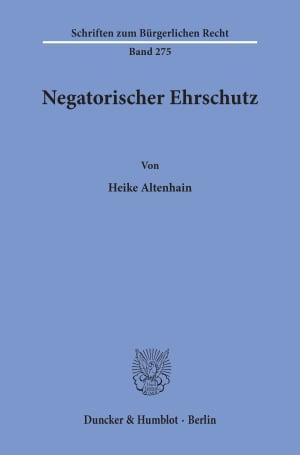 Cover Negatorischer Ehrschutz