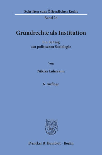 Cover Grundrechte als Institution
