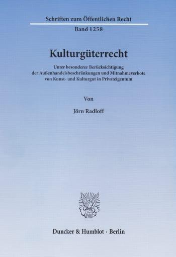 Cover: Kulturgüterrecht