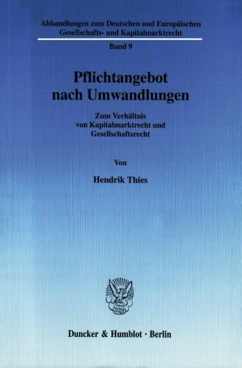 Cover: Pflichtangebot nach Umwandlungen