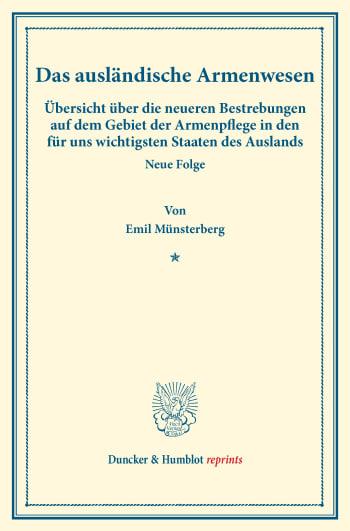 Cover: Das ausländische Armenwesen
