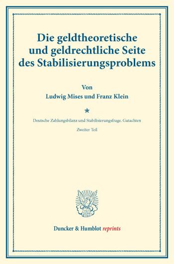 Cover: Die geldtheoretische und geldrechtliche Seite des Stabilisierungsproblems