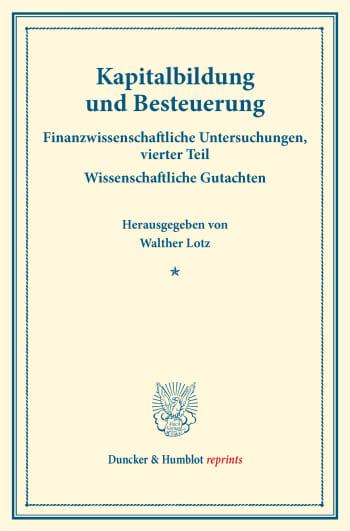 Cover: Kapitalbildung und Besteuerung