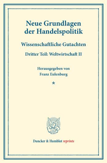 Cover: Neue Grundlagen der Handelspolitik