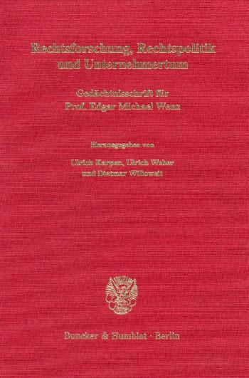 Cover: Rechtsforschung, Rechtspolitik und Unternehmertum