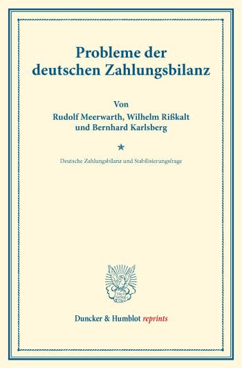 Cover: Probleme der deutschen Zahlungsbilanz