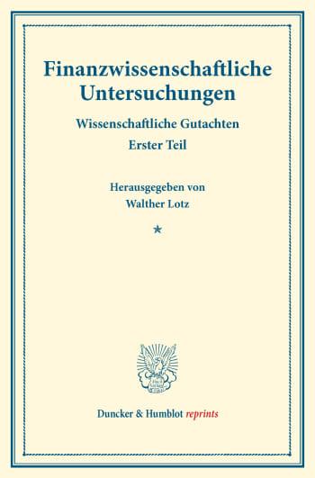 Cover: Finanzwissenschaftliche Untersuchungen