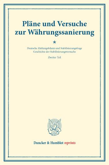 Cover: Pläne und Versuche zur Währungssanierung