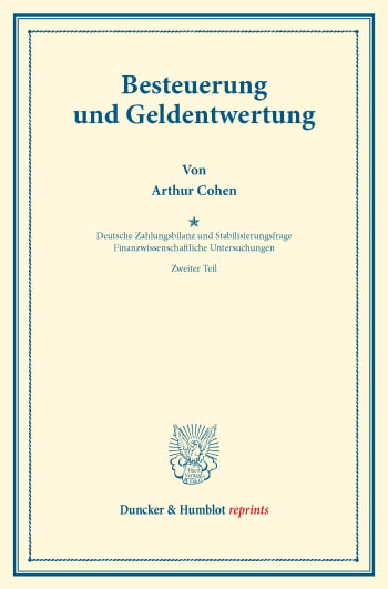 Cover: Besteuerung und Geldentwertung