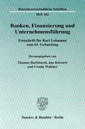 Cover: Banken, Finanzierung und Unternehmensführung