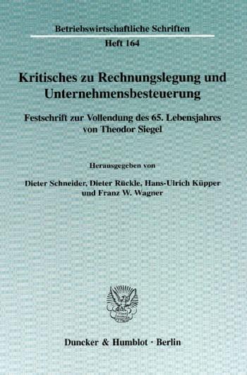 Cover: Kritisches zu Rechnungslegung und Unternehmensbesteuerung