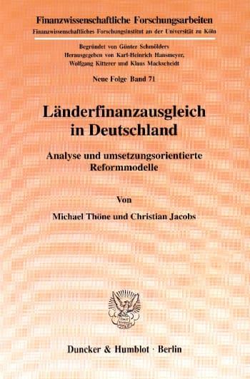 Cover: Länderfinanzausgleich in Deutschland