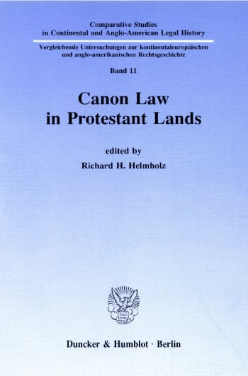 Cover: Canon Law in Protestant Lands