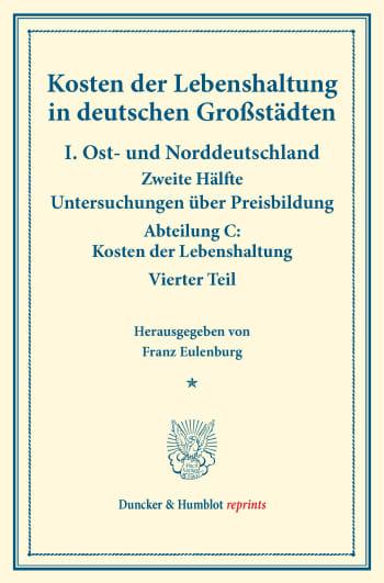 Cover: Kosten der Lebenshaltung in deutschen Großstädten