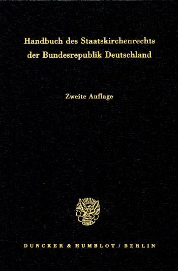 Cover: Handbuch des Staatskirchenrechts der Bundesrepublik Deutschland