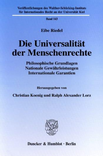 Cover: Die Universalität der Menschenrechte
