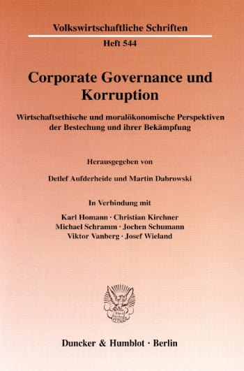 Cover: Corporate Governance und Korruption
