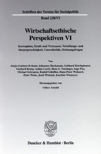 Cover: Wirtschaftsethische Perspektiven VI