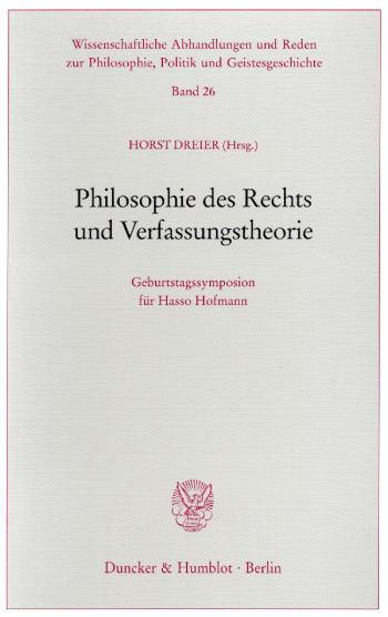 Cover: Philosophie des Rechts und Verfassungstheorie