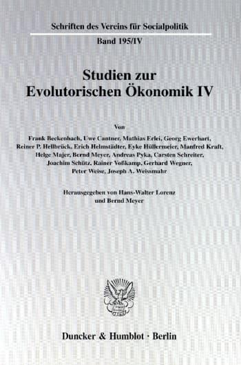 Cover: Studien zur Evolutorischen Ökonomik IV