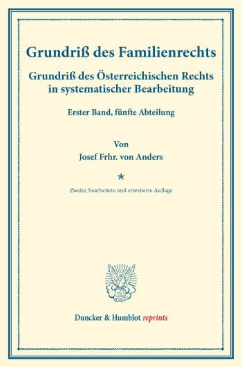 Cover: Grundriß des Familienrechts