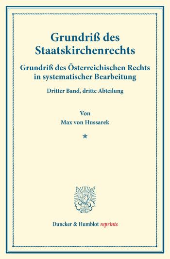 Cover: Grundriß des Staatskirchenrechts