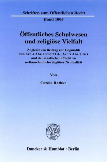 Cover: Öffentliches Schulwesen und religiöse Vielfalt