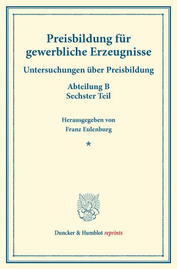 Cover: Preisbildung für gewerbliche Erzeugnisse
