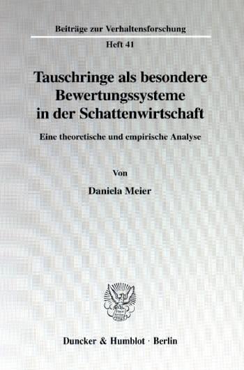 Cover: Tauschringe als besondere Bewertungssysteme in der Schattenwirtschaft