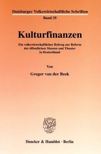 Cover: Kulturfinanzen