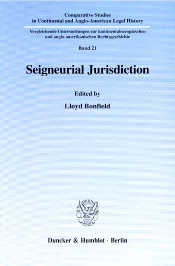 Cover: Seigneurial Jurisdiction