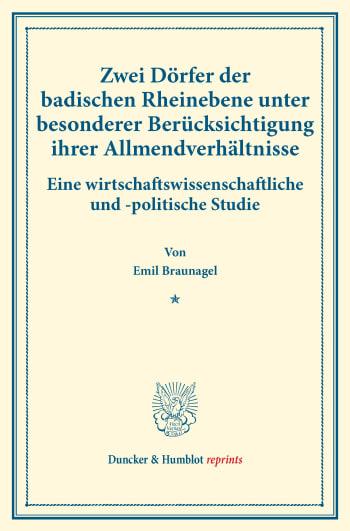 Cover: Zwei Dörfer der badischen Rheinebene unter besonderer Berücksichtigung ihrer Allmendverhältnisse