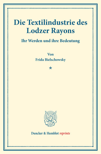 Cover: Die Textilindustrie des Lodzer Rayons