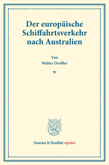 Cover: Der europäische Schiffahrtsverkehr nach Australien