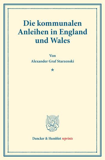 Cover: Die kommunalen Anleihen in England und Wales
