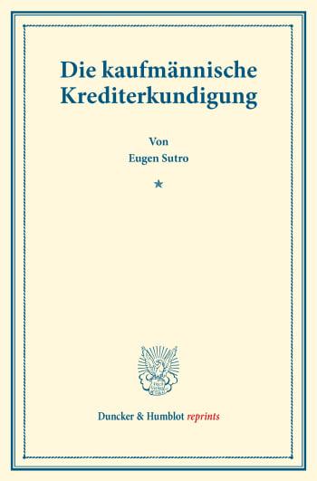 Cover: Die kaufmännische Krediterkundigung