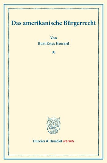 Cover: Das amerikanische Bürgerrecht